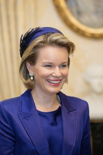 Queen Mathilde visit at the Grand Ducal Palace in Luxembourg