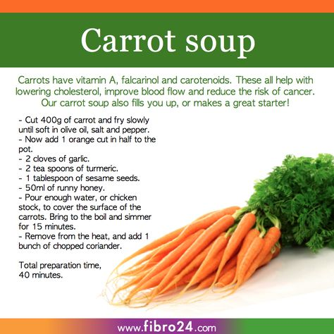 We created a bunch of recipes that could help folks with fibromyalgia. Try our carrot soup for fantastic healthy results and as a great party starter.