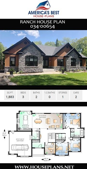 House Plan 034 00654 Ranch Plan 1 883 Square Feet 3 Bedrooms 2 Bathrooms Craftsman House Plans Ranch House Plan House Plans