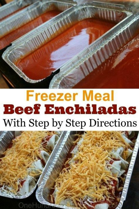 Easy Beef Enchiladas With all my Zaycon chicken to use up, I was finding myself in a chicken rut. I needed some red meat in my life! These beef enchiladas were the perfect solution. I make them almost the exact same way I make my chicken enchiladas, which Freeze Ahead Meals, Freezable Meals, Freezer Friendly Meals, Make Ahead Freezer Meals, Crock Pot Freezer, Freezer Cooking, Freezer Dinner, Good Meals, Individual Freezer Meals