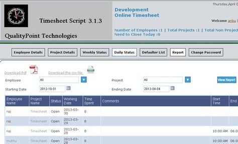 Web based timesheet script to track Employee work hours and - employee timesheet