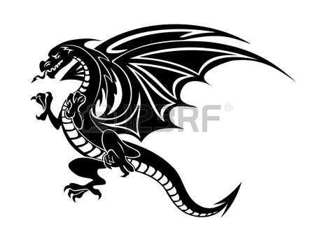 Dragon Chino Angry Tatuaje De Dragón Negro Sobre Fondo Blanco