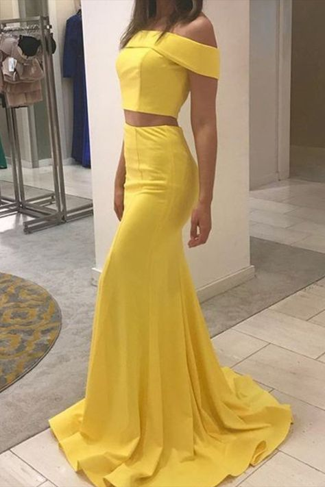 Mermaid Off-the-Shoulder Two Pieces Long Prom Dresses Formal Evening Gowns #promdress #yellowpromdresses #longformaldresses