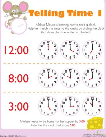 Telling Time With Melissa Mouse 1 Worksheet Education Com Time Worksheets Telling Time Worksheets For Kids Free kindergarten telling time