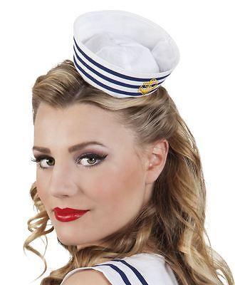 Pill Box Sailor Hat Military Navy Marine Women/'s Fancy Dress Costume