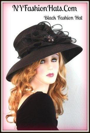 Black Fashion Designer Dressy Formal Ascot Ladies Hat 2RJQ  06a53cb61ee2