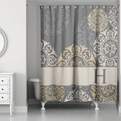 Medallions Shower Curtain In Grey Taupe Gold Custom Shower Curtains Medallion Shower Curtain Unique Shower Curtain