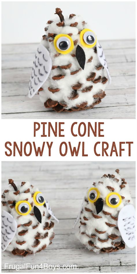 Snowy owls craft for boys Adorable Pine Cone Snowy Owl Craft for Kids - Frugal Fun For Boy Pinecone Crafts Kids, Diy Crafts For Kids, Holiday Crafts, Arts And Crafts, Pine Cone Crafts For Kids, Pinecone Owls, Toddler Crafts, Craft Stick Crafts, Autumn Crafts Kids
