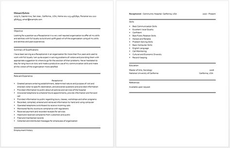 Receptionist Resume resume sample Pinterest Receptionist - enterprise architect resume sample