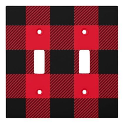 Rustic Black And Red Buffalo Plaid Pattern Light Switch Cover Zazzle Com In 2021 Buffalo Plaid Decor Black And Red Kitchen Rustic Black