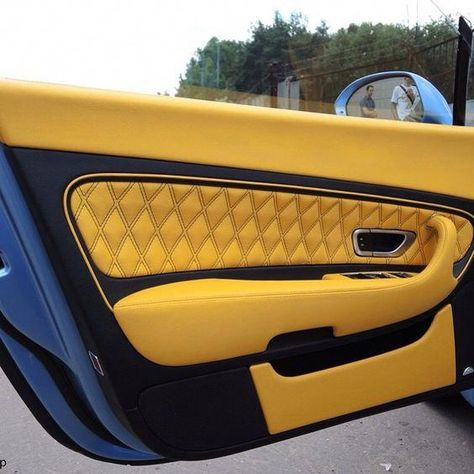 bentley continental GT blue with yellow and black interior #interiordecorationwhite