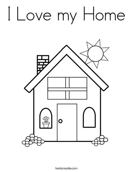 I Love My Home Coloring Page Twisty Noodle House Colouring