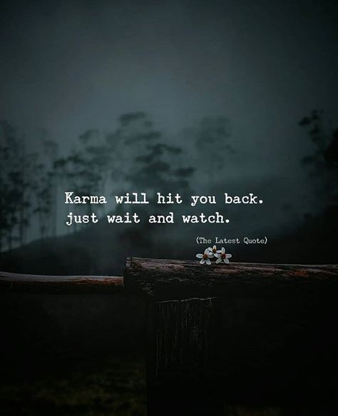 Karma will hit you back. just wait and watch. #thelatestquote #karma #revenge