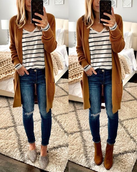 IG mrscasual mustard cardigan stripe t-shirt ripped jeans booties mules 2019 Nordstrom Anniversary Sale Public Access Winter Fashion Outfits, Casual Fall Outfits, Fall Winter Outfits, Outfits For Teens, Autumn Fashion, Fashion Ideas, Fashion Dresses, Fall Fashion Women, Women Fall Outfits