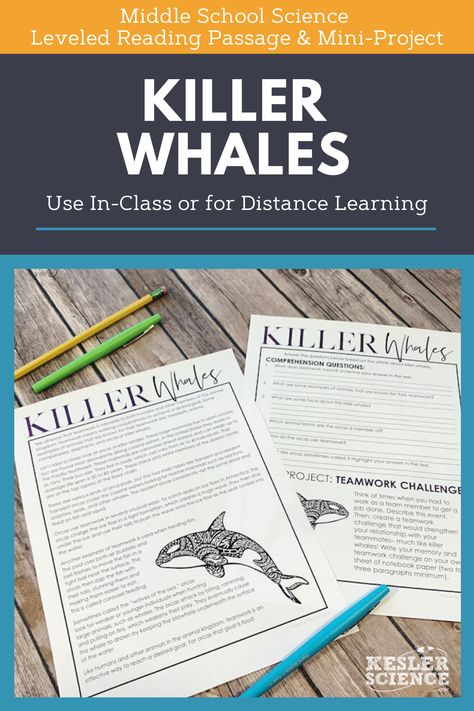 Science Reading Comprehension - Killer Whales - Distance Learning