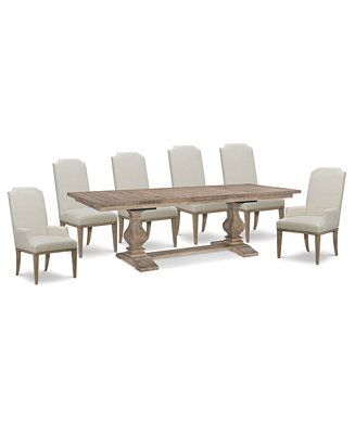 Furniture Rachael Ray Monteverdi Dining Furniture 7 Pc Set Table 4 Upholstered Side Chairs 2 Upholstered Arm Chairs Reviews Furniture Macy S Upholstered Side Chair Side Chairs Upholstered Arm Chair