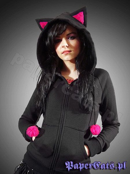 Hoodie black cat ears corset kawaii by PaperCatsPL on Etsy