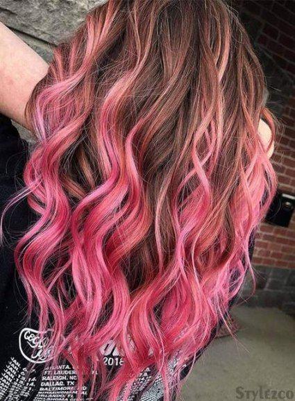 53 Ideas Hair Brown Highlights Pink Hair Color Pink Brown Hair Colors Brown And Pink Hair