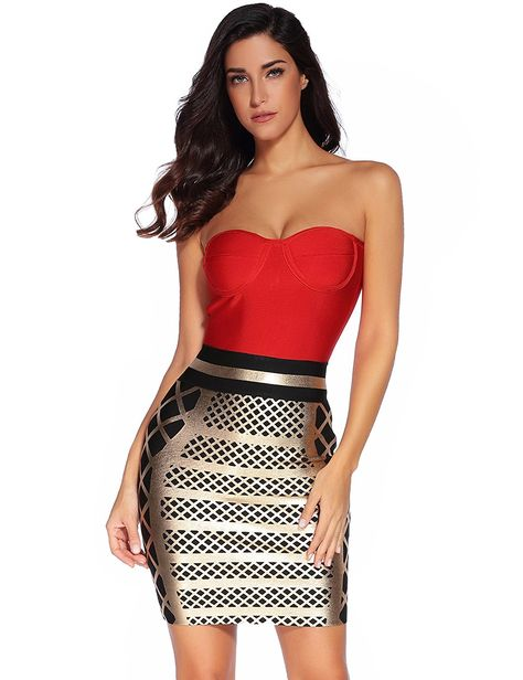 3ee7201a Meilun Women Rayon Sleeveless Manual Bodycon Bandage Dress (X-Small, Red  gold)