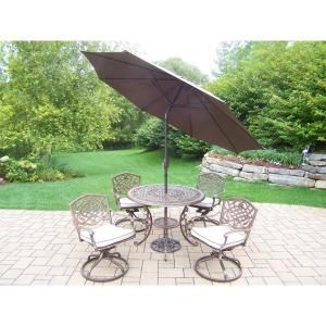 7 Piece Aluminum Outdoor Dining Set With Oatmeal Cushions And Brown Umbrella Patio Dining Set Patio Oakland Living