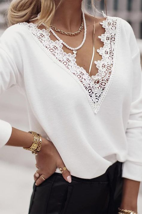 Lined In Lace V-neck Shirt - Small