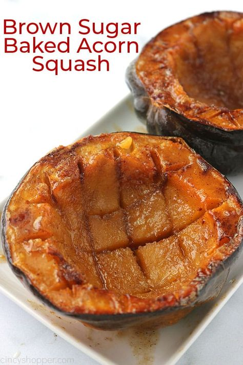 Brown Sugar Baked Acorn Squash This super easy Brown Sugar Baked Squash will make for a delicious side dish for fall. To make this dish, cut the squash in half, remove the seeds, add butter, brown sugar and a little cinnamon before baking in the oven. Acorn Squash Brown Sugar Recipe, Acorn Squash In Oven, Acorn Squash Recipes, Butternut Squash, Panera Autumn Squash Soup, Baked Squash, Easy Baked Chicken, Baked Pumpkin, Vegetable Dishes