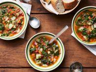 Spanish Chorizo, Kale and Cranberry Bean Soup with Oven-Dried Tomato-Garlic Toast Recipe : Bobby Flay : Food Network