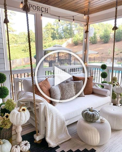 Fall front porch with rope swing with pillows via @mygeorgiahouse. A great way to decorate your front porch for autumn! More seasonal decor this way... #curatedinterior