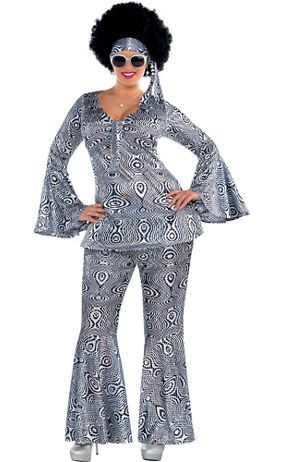 Oh yes it's ladies night, so boogie the night away in our Dancing Queen Disco Costume! Adult Dancing Queen Disco Costume Plus Size features flare bottom pants and sequins.