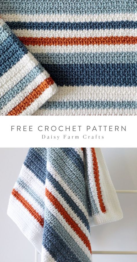 Free Pattern - Crochet Country Blue Stripes Baby Blanket Free easy to read crochet pattern with video tutorial. This uses a half double crochet cluster stitch and double crochet with a herringbone stitch border. Crochet Afghans, Striped Crochet Blanket, Afghan Crochet Patterns, Knitting Patterns, Knit Crochet, Knitting Baby Blankets, Crochet Baby Blankets, Free Crochet Blanket Patterns, Crochet Baby Blanket Borders