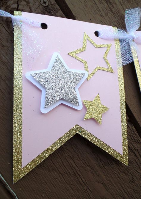 Twinkle Twinkle Little Star,Star Banner,1st birthday banner,Twinkle little star banner,Pink & gold banner,twinkle little star bday