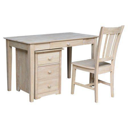 Two Drawer File Cabinet With Desk Unfinished Walmart Com In 2020 Wood Desk Chair Wood Desk Filing Cabinet