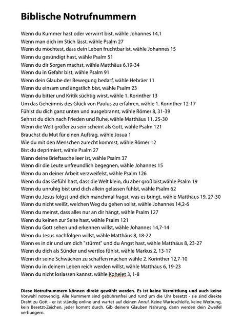 Foto: Genial - Biblische Notfallnummern. Den Zettel hab ich bei Arne Elsen mitgenommen. Hat Jürgen uns jetzt eingescannt und vergrößert zum Weiterleiten. Thanks ♥
