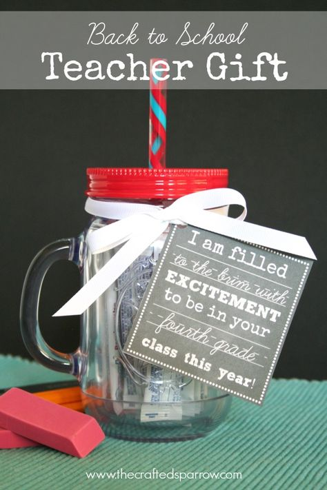 """Back-To-School-Teacher-Gift -- """"I am filled to the brim with excitement to be in your class this year."""" Pair the free printable tag with drink packets and a reusable mason jar cup with straw."""