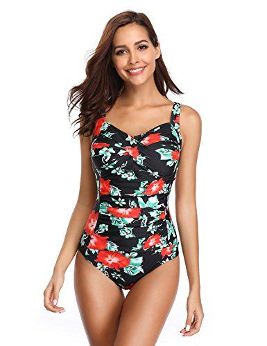 elegant and sturdy package latest selection classic style LALAVAVA Women Vintage One Piece Swimsuit Monokini Ruched ...