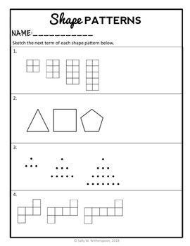 4th Grade Patterns 3 Day Mini Unit Number Patterns Shape