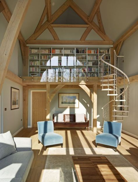 Stunning double-height space in this timber frame home by Roderick James Architects. Photo courtesy of (http://www.sapphirespaces.co.uk)