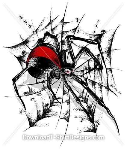 Red Back Spider Web Spider Mexican Culture Art Graphic Design Company