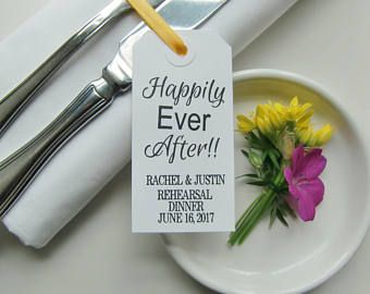 Rehearsal Dinner Decorations-HAPPILY EVER AFTER-Rehearsal Napkin Ties-Rehearsal Dinner Ideas-Elegant White Tags-Rehearsal Dinner Decor