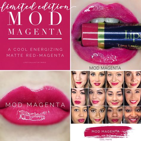 Mod Magenta LipSense collage with lips and selfies #modmagenta