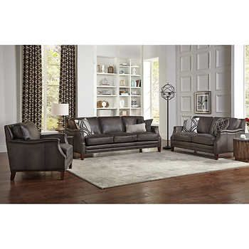 Edgewood 2 piece Leather Set Sofa, Loveseat (With images