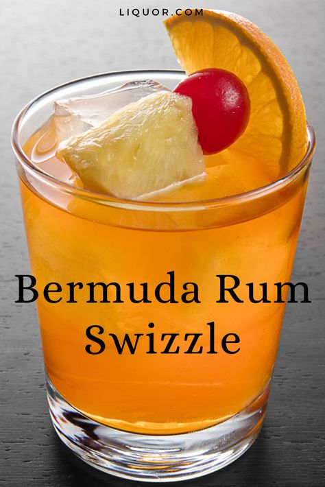 Classics You Should Know: Bermuda Rum Swizzle - This rum punch is a great summer cocktail. The Bermuda Rum Swizzle is a sweet and fruity cocktail g - Fruity Cocktails, Cocktail Drinks, Cocktail Recipes, Beach Cocktails, Dark Rum Cocktails, Slushies, Pina Colada, Party Drinks, Fun Drinks