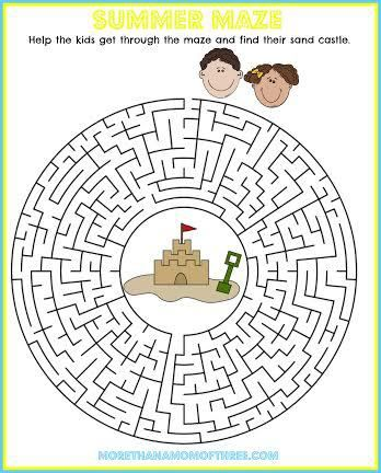 Summer Activity Sheet Printable Maze Printable For Kids Kids