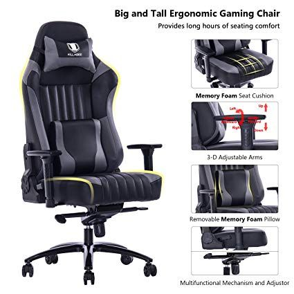Killabee Big And Tall 400lb Memory Foam Gaming Chair Adjustable Tilt Back Angle And 3d Arms Ergonom Gaming Chair Reclining Office Chair Office Computer Desk