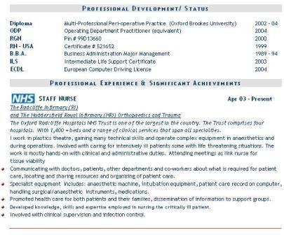 Cv Template Nhs Cvtemplate Template Nursing Resume Template Nursing Resume Examples Medical Resume Template