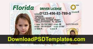 Florida Driver License Template Psd New Updated Latest Id Card Template Drivers License United States Passport