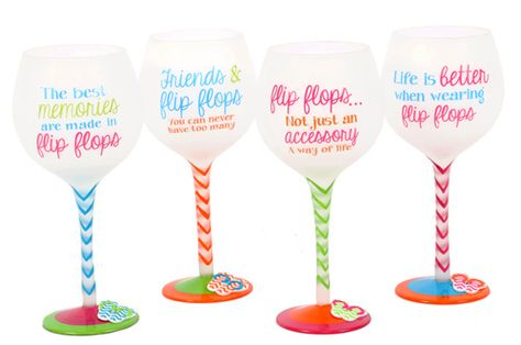 Flip Flop Quotes Wine Glasses   OceanStyles.com