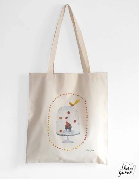 Tote Bag Illustre Aquarelle Cupcake Oiseau Sac Aquarelle Gourmand