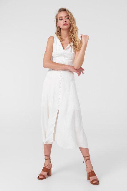 Yeni Beyaz Dugme Detayli Elbise Elbise Moda Stilleri Dugmeler