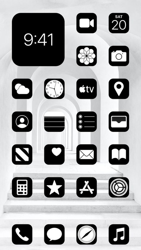 Aesthetic Black iOS 14 App Icons Pack - 108 Icons - 1 Color - Black App Icons Aesthetic - iOS Home Screen Pack